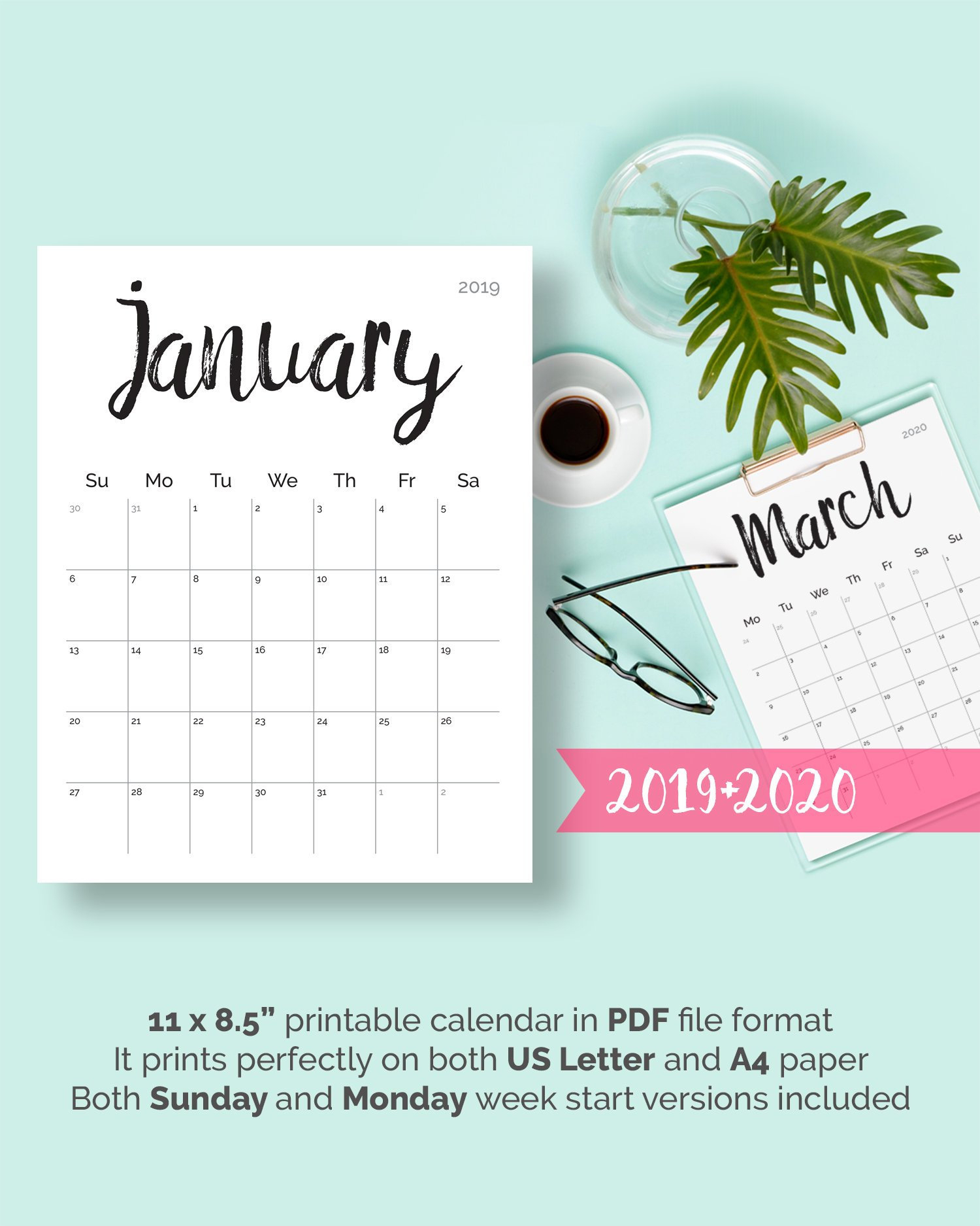 Printable Calendar 2019 2020 2018 Desk Calendar Pdf Download Planner 2019  Calendar Pages, Digital Monthly 2019 2020 Calendar Printable 2019 throughout Pretty Printable Calendar 2020 Without Download