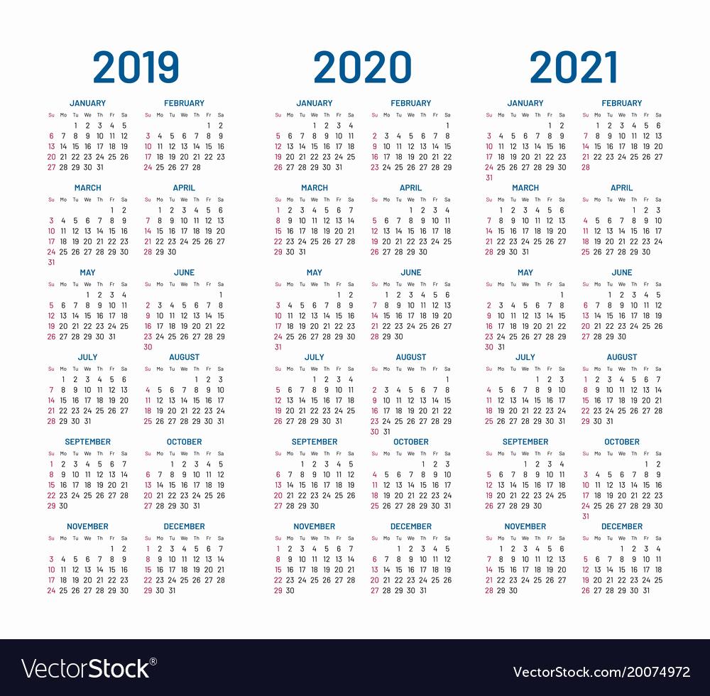 Printable Calendar 2019 2020 2019 Three Year Calendars For 2018 2019 within Three Year Calendar 2020 -2023