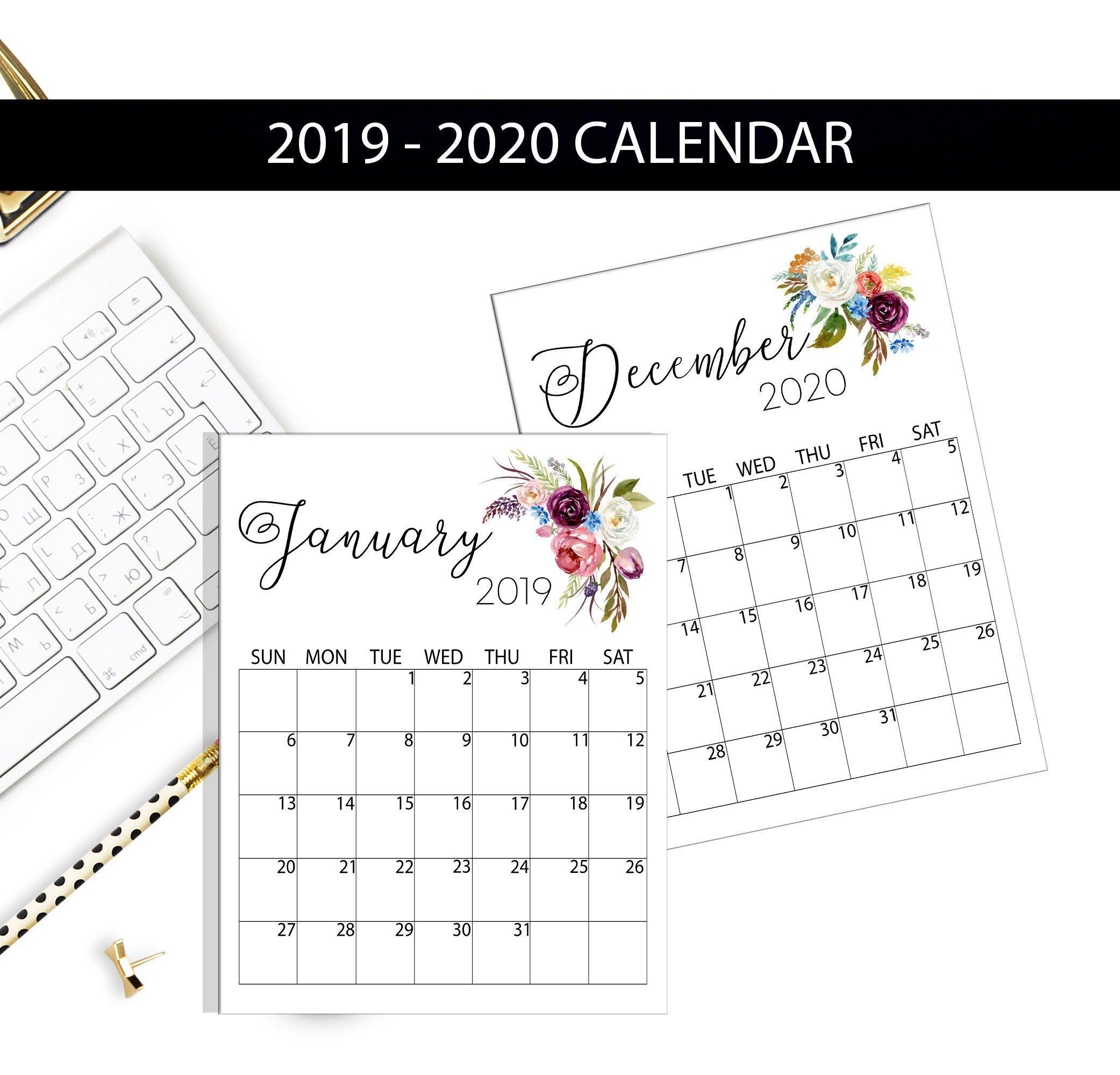 Printable Calendar 2019-2020, Monthly Calendar, Floral Calendar regarding Frame Birthday Calendar Templates Free