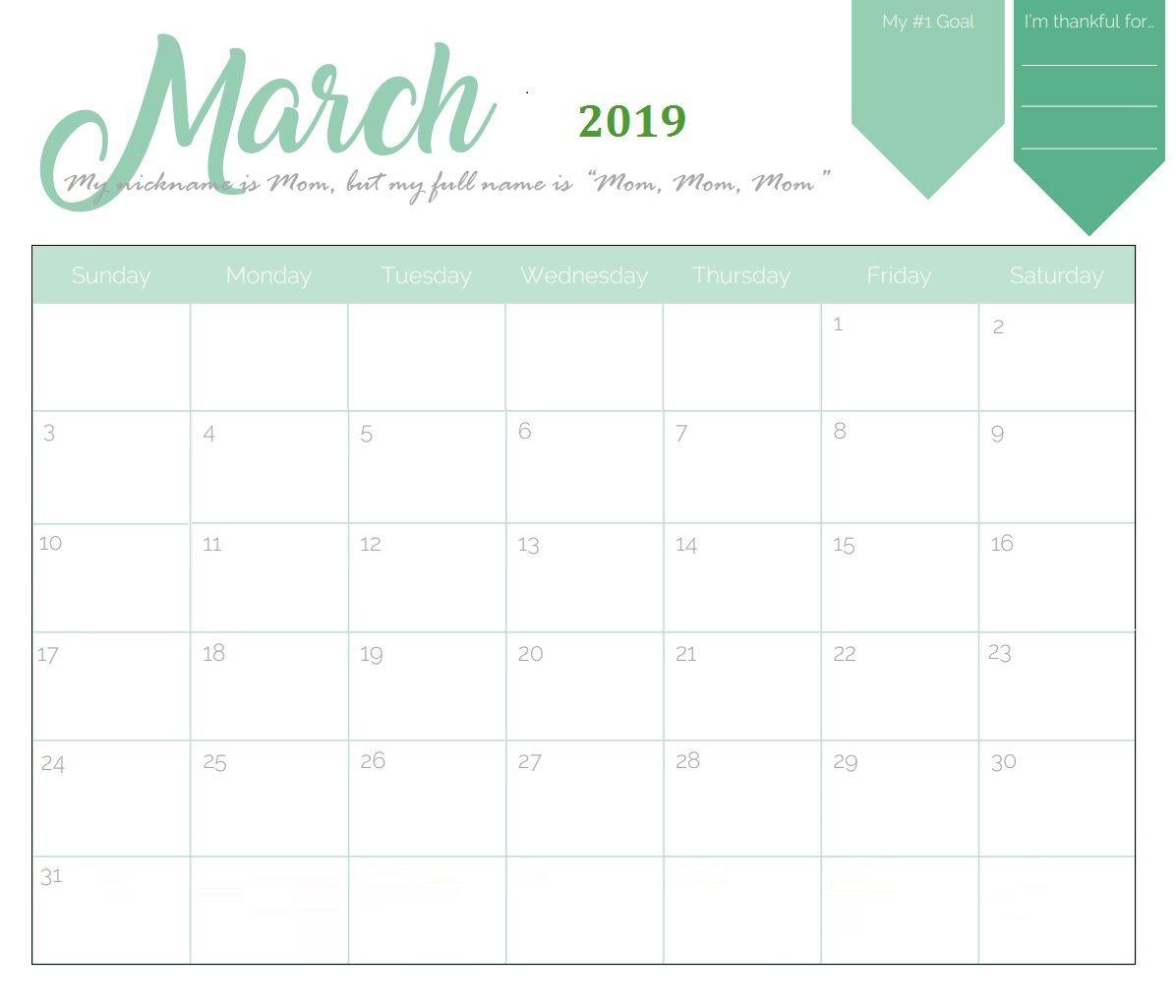 Printable Calendar 2019 March | Printable Calendar 2019 with March Calendar Printable Template