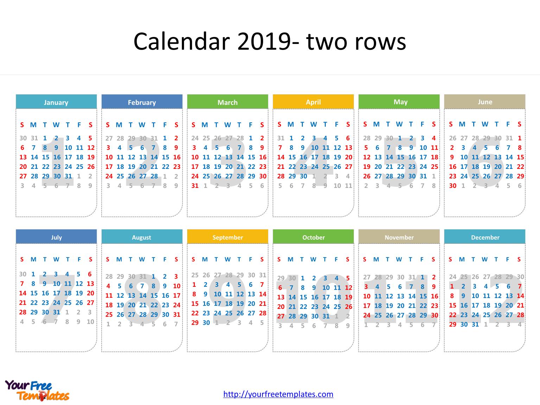 Printable Calendar 2019 Template - Free Powerpoint Templates with regard to Monthly Calendar Powerpoint Template