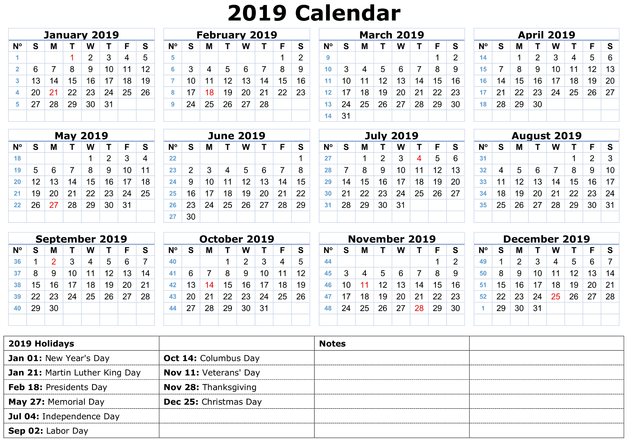 Printable Calendar 2019 With Holidays | Printable Calendar 2019 for Blank Calendar Print-Outs Fill In With Holidays