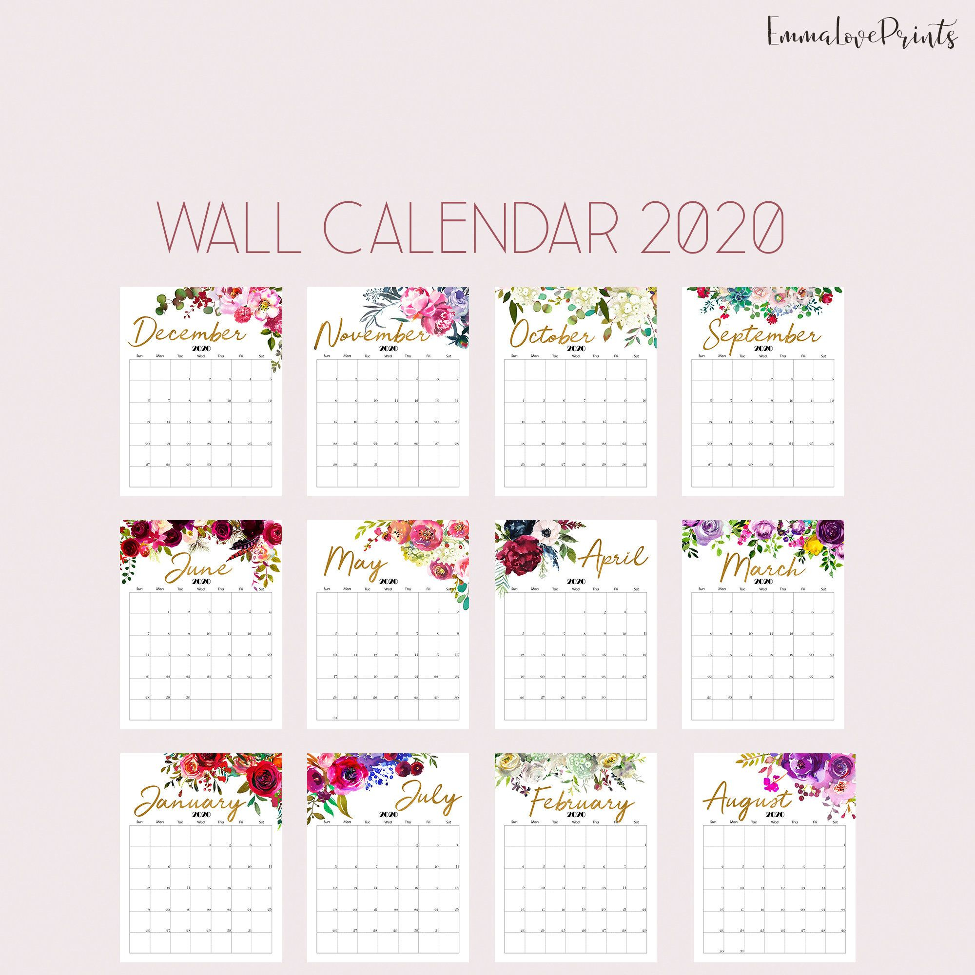 Printable Calendar 2020 Wall Calendar 2020 Desk Calendar, Floral intended for 2020 Free Printable 8.5 X11 Monthly Calendars