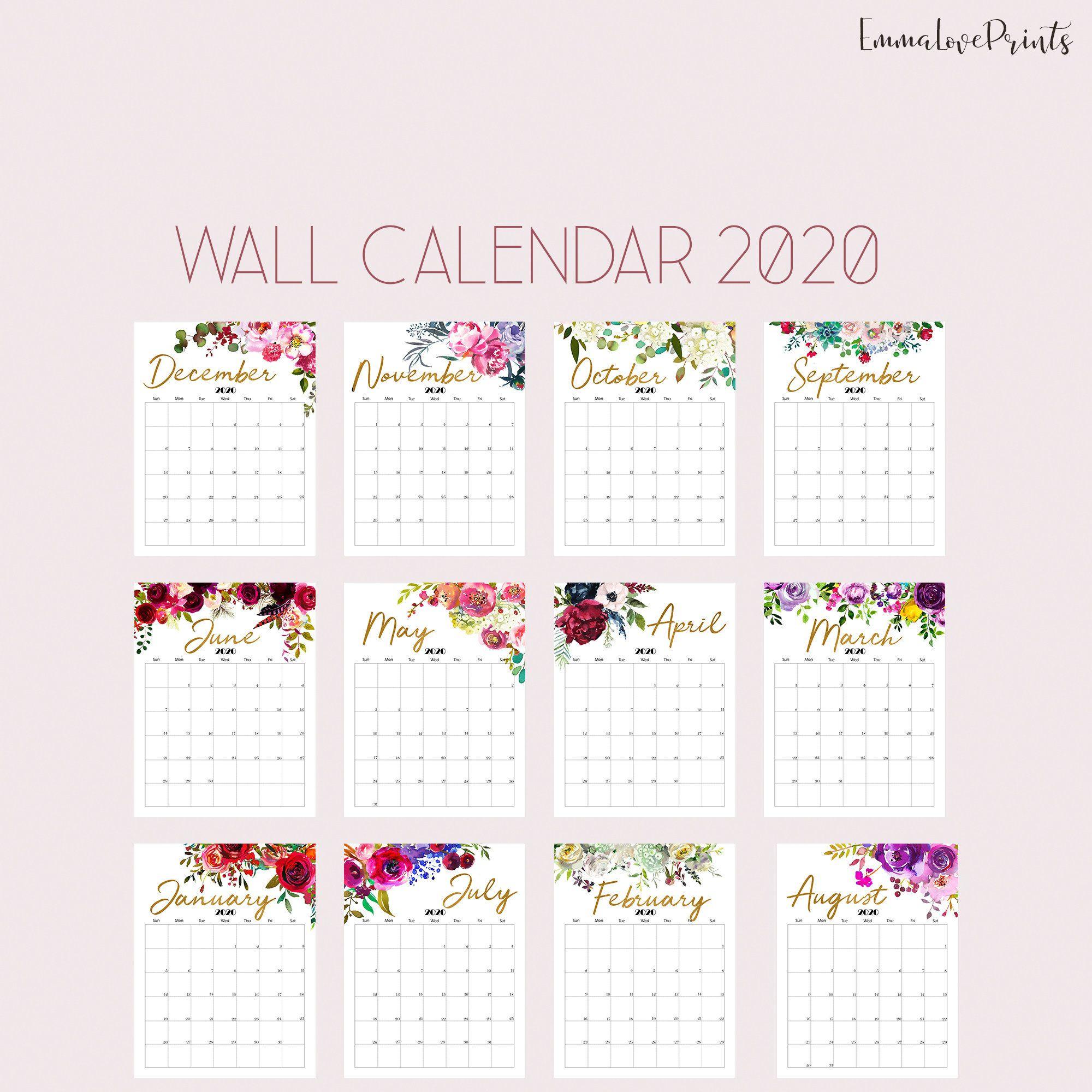 Printable Calendar 2020 Wall Calendar 2020 Desk Calendar, Floral throughout 2020 Printable Calendar With Sunday And Saturday Pink Color