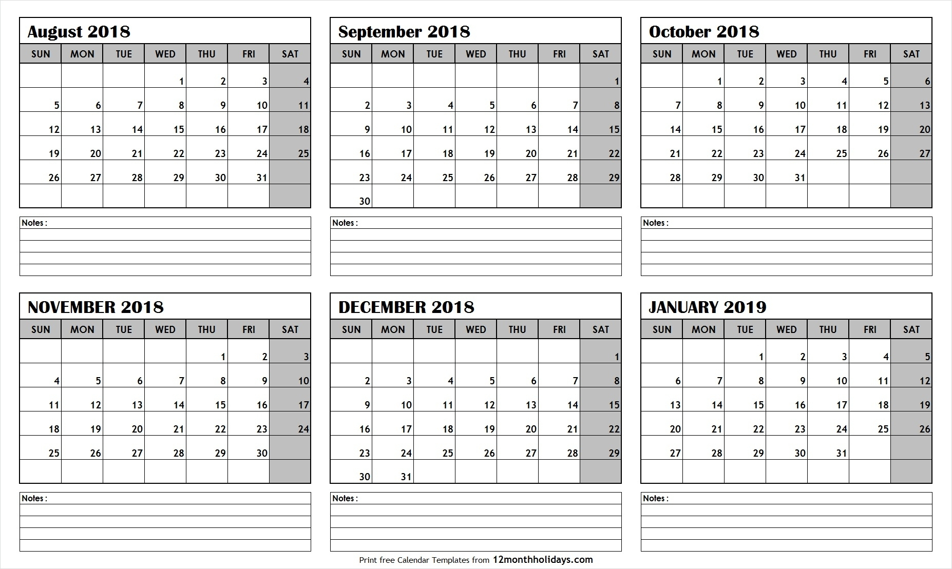 Printable Calendar 6 Month 2019 | Calendar Design Ideas in Blank 6 Month Calendar