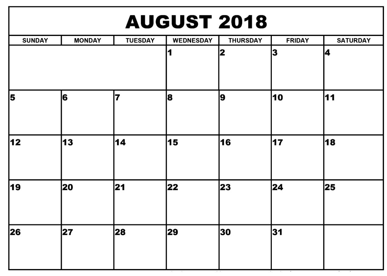 Printable Calendar August 2018 Template Pdf With Holidays inside August Blank Calendar Template