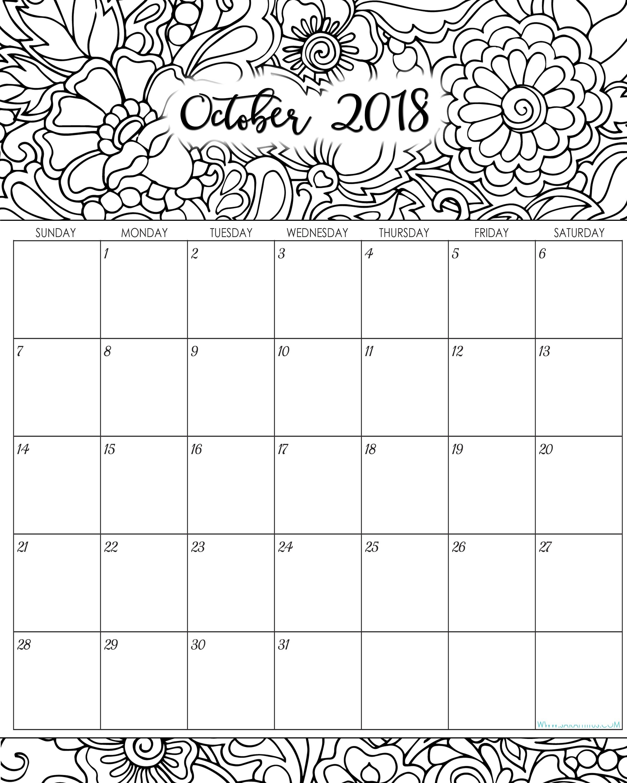 Printable Calendar Coloring Pages 2018 | Printable Calendar 2019 with Coloring Pages October Calendar 2019 Adults
