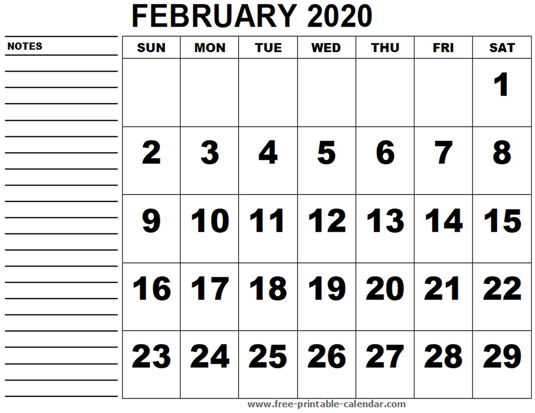 Printable Calendar February 2020 - Free-Printable-Calendar in 2020Free Printable Calendars Without Downloading