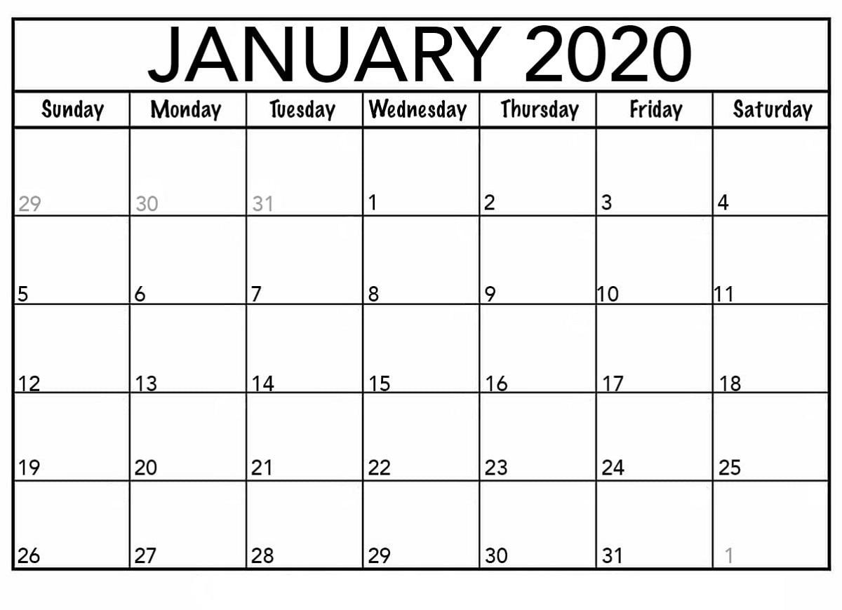 Printable Calendar For 2020 Blank Agenda   Calendar Shelter regarding Blank 2020 Calendar Starting On Saturday Printable Free