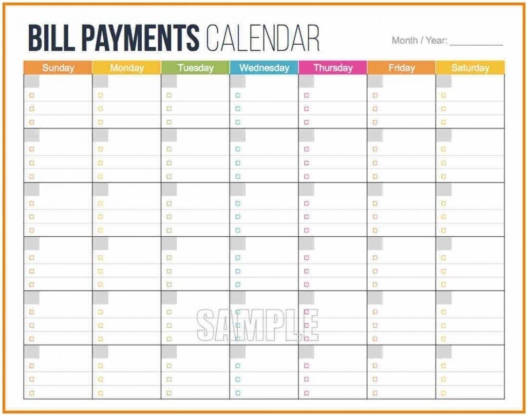 Printable Calendar For Bill Paying - Calendar Inspiration Design for Printable Monthly Calendar Templates Bills