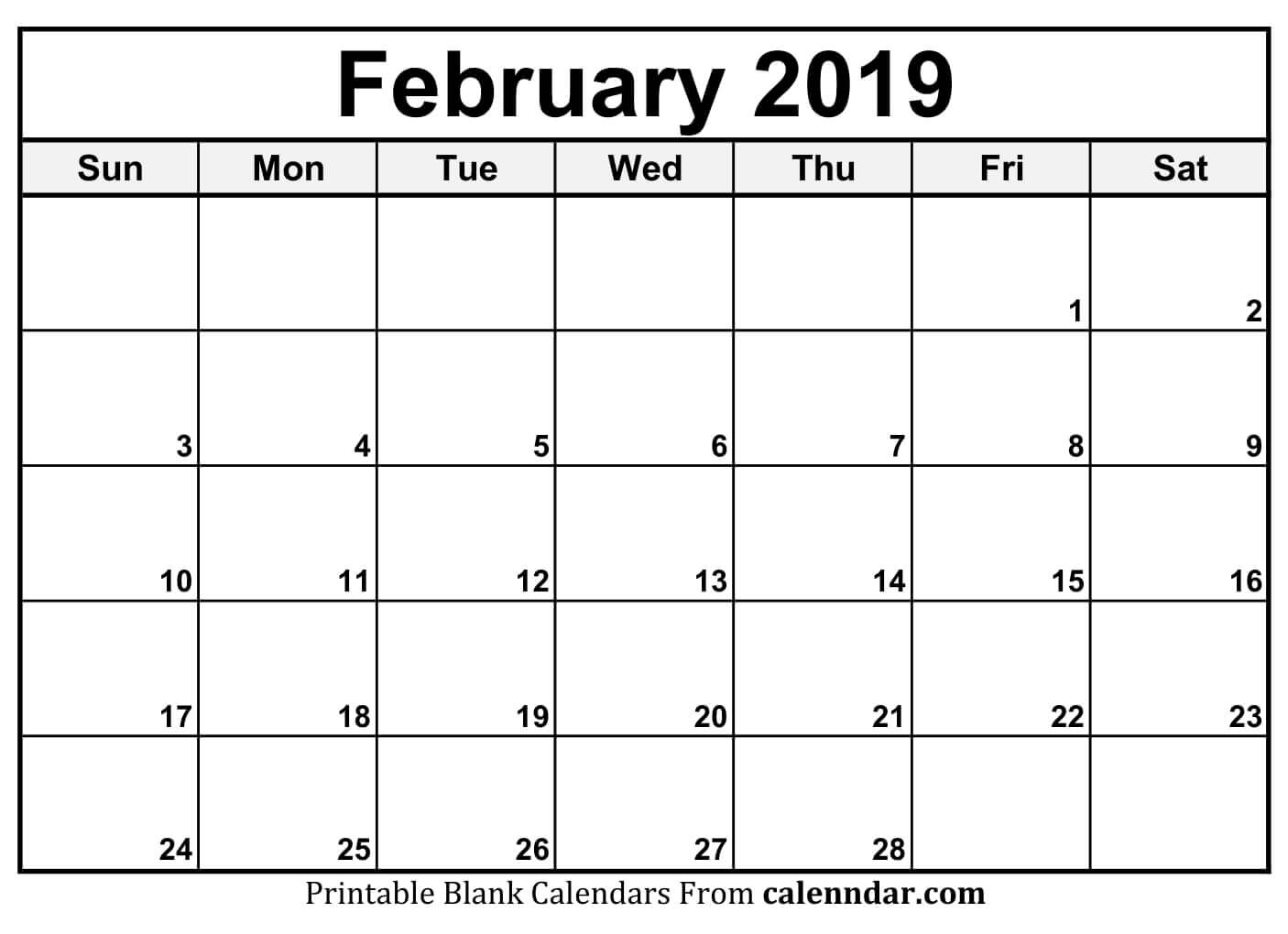 Printable Calendar For February 2019 Page - Free Printable Calendar throughout Blank Printable Calendar Pages