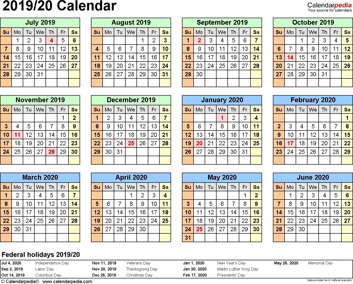 Printable Calendar July 2019 To June 2020 - Calendar Inspiration Design regarding June 2019-June 2020 Yearly Calendar