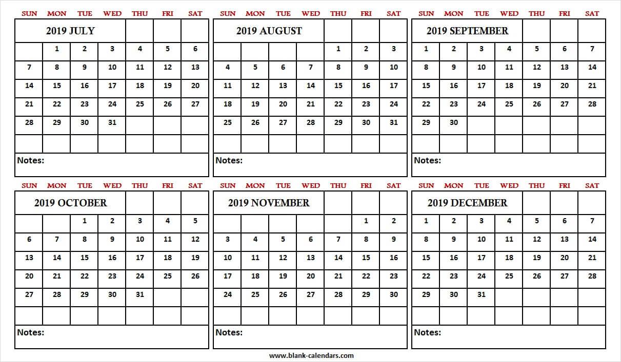 Printable Calendar July December 2019 - Print Blank Calendar Template inside July Through December Blank Calendars