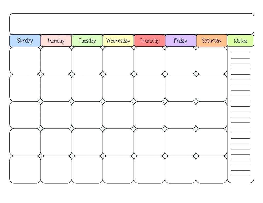 Printable Calendar Kid Friendly | Printable Calendar 2019 in Monthly Calendar Template Kids