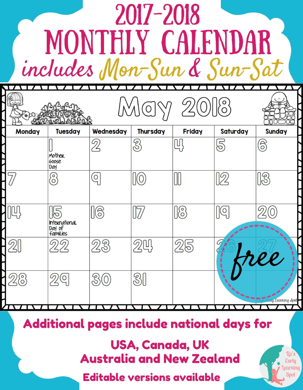 Printable Calendar Kid Friendly | Printable Calendar 2019 with regard to Monthly Calendar Template Kids