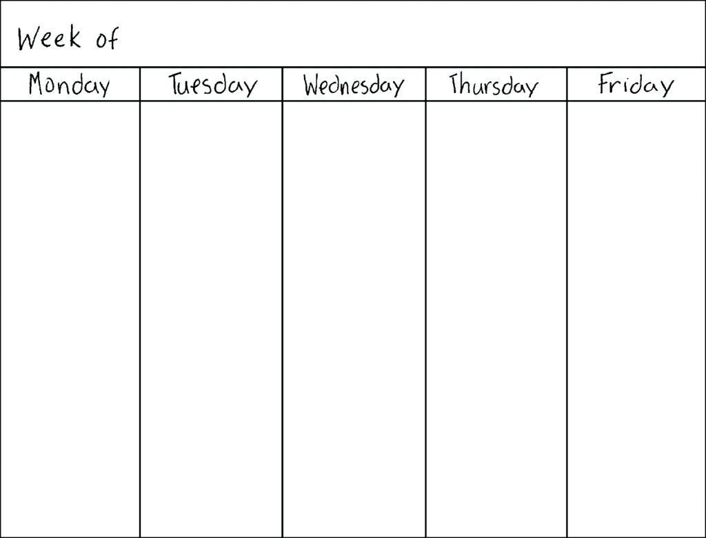 Printable Calendar Monday Through Friday   Printable Calendar 2019 intended for Blank Weekly Monday Through Friday Calendar Template