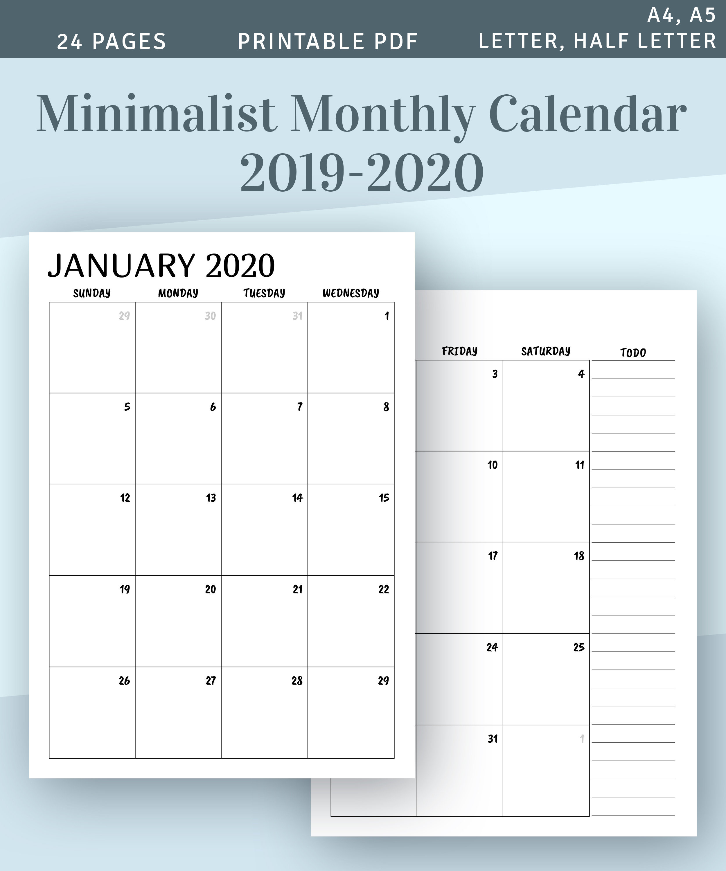 Printable Calendar Monthly 2019 2020, Month On Two Page Planner, Minimalist  Printable Monthly Calendar Template, Year Calendar Pdf Insert in Monthly Printable Calendars 2020 Half Page