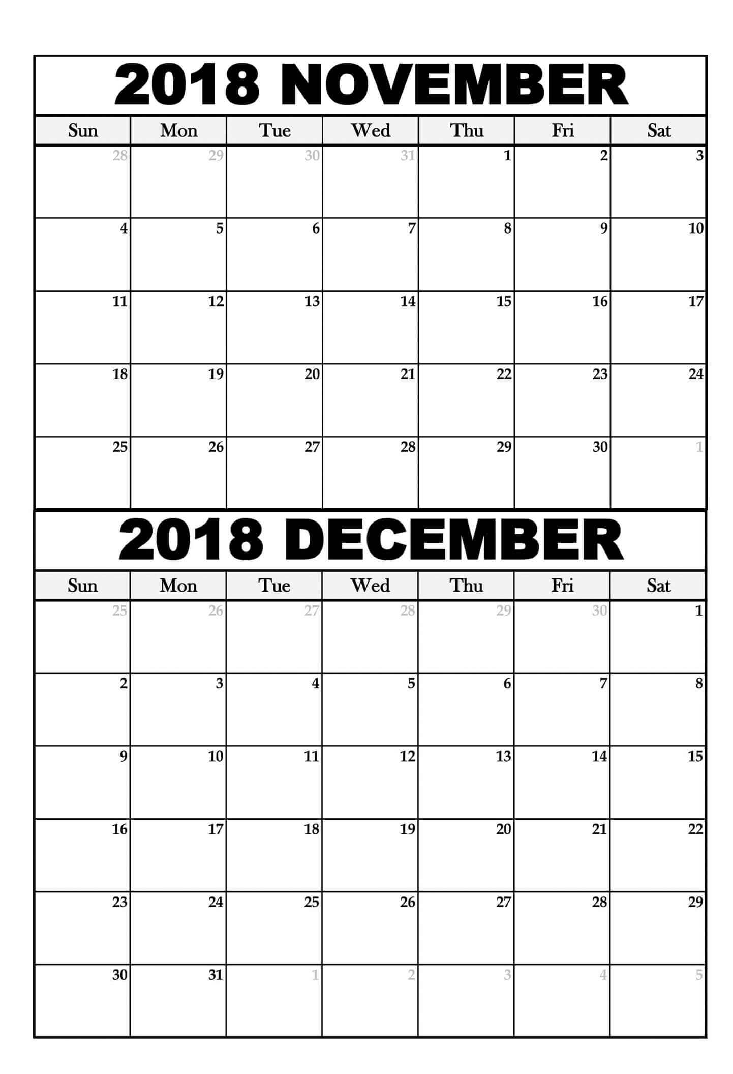 Printable Calendar November 2018 | Free Printable 2019 Calendar pertaining to Blank Calendar For November And December