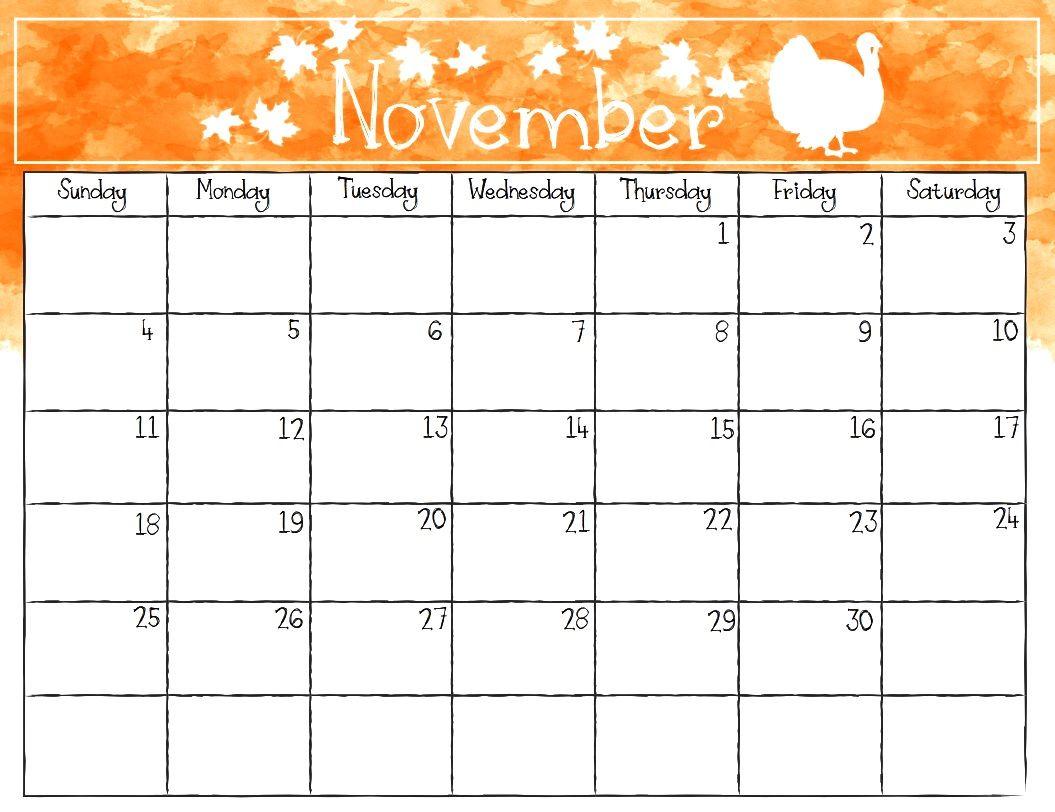 Printable Calendar November 2018 Watercolor | November 2018 within Monday To Sunday Calendar Template November
