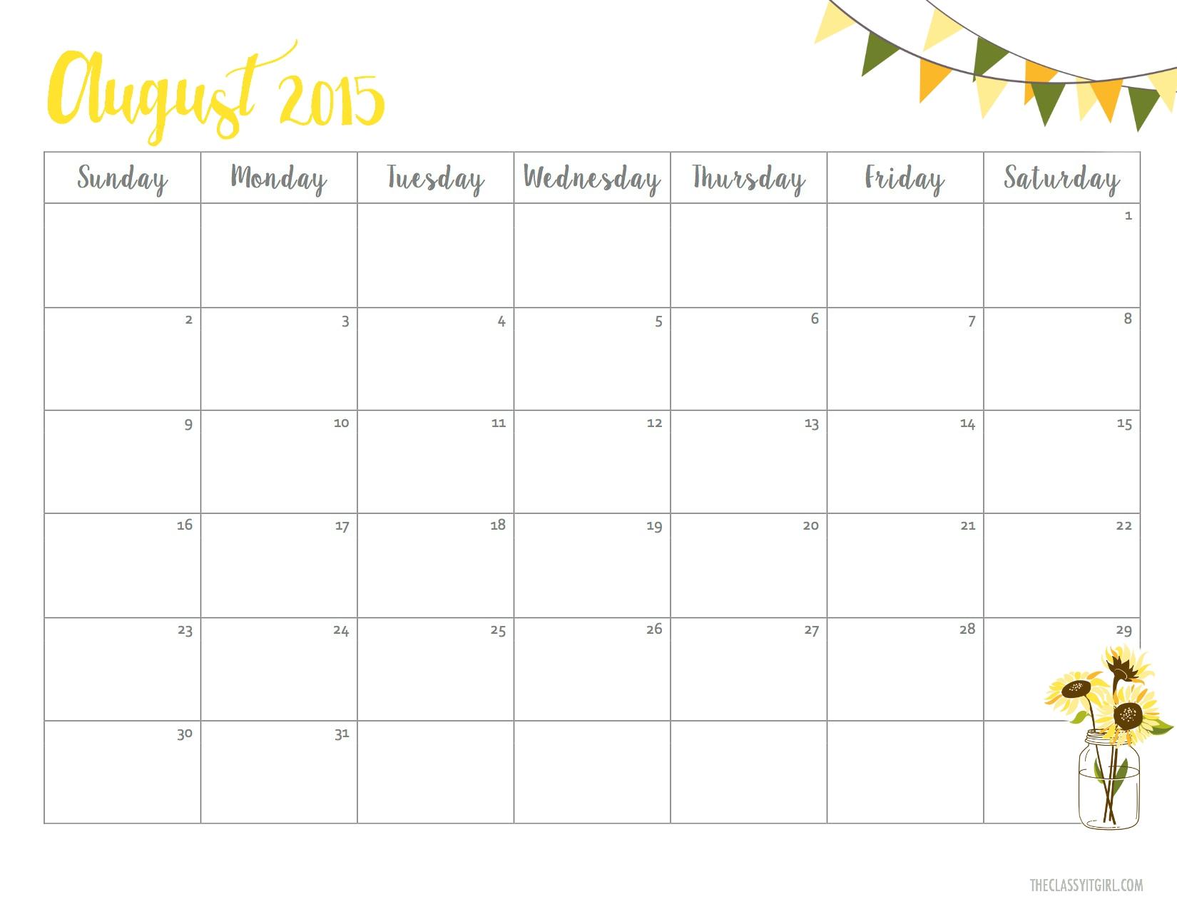 Printable Calendar Pretty   Printable Calendar 2019 in Pretty Blank Augst Calender