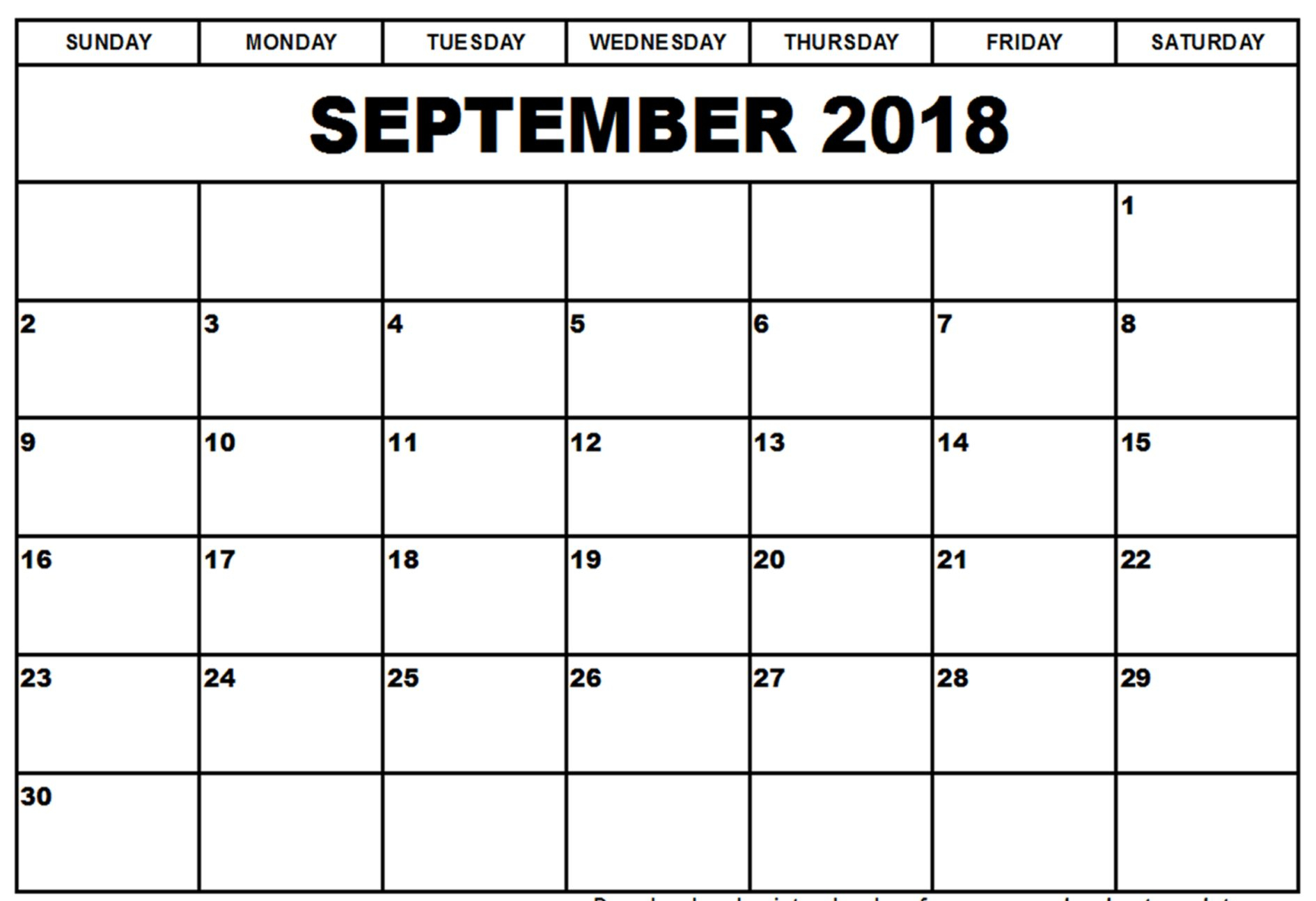 Printable Calendar September 2018 Template Pdf regarding Printable Blank September Calendar