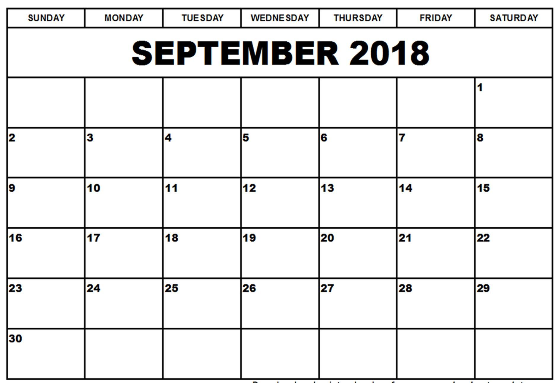 Printable Calendar September 2018 Template Pdf within Blank Calendars September Printable