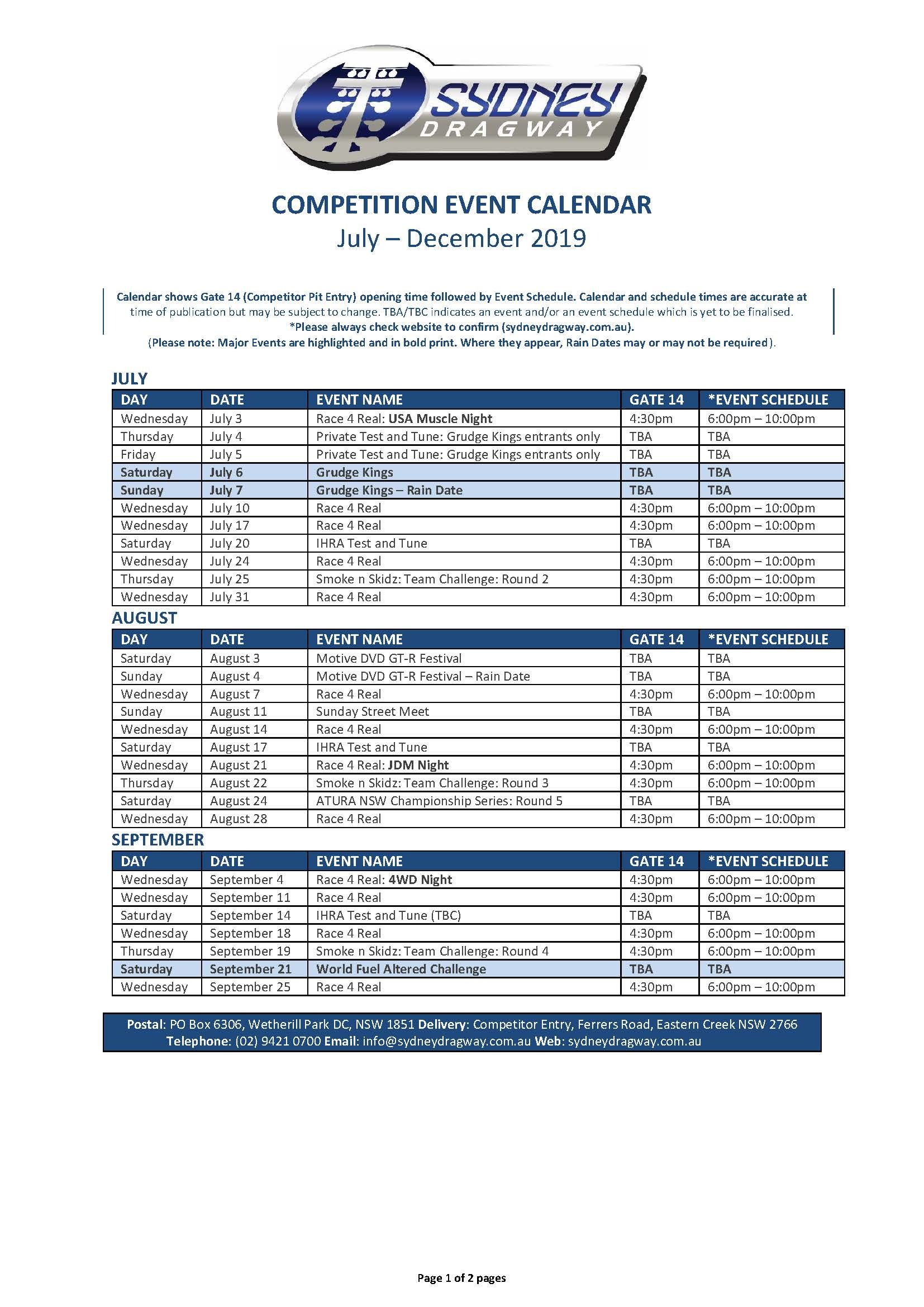 Printable Calendar - Sydney Dragway intended for Community Calender Sydney October 2019
