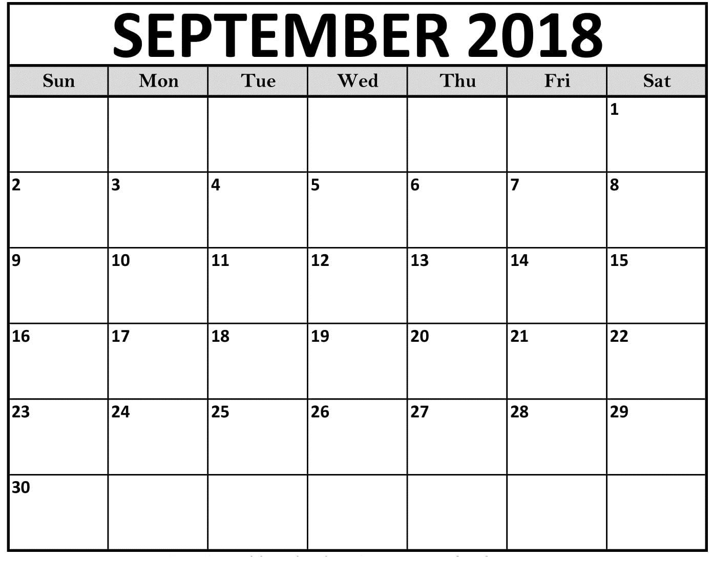Printable Calendar Template September 2018 | Printable Calendar 2019 intended for September Calendar Printable Template