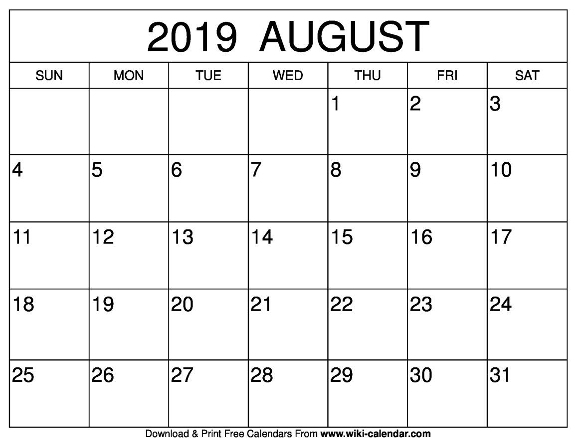Printable Calendar Templates 2019 August Through December | Calendar inside Printable Calendar Templates August Through December