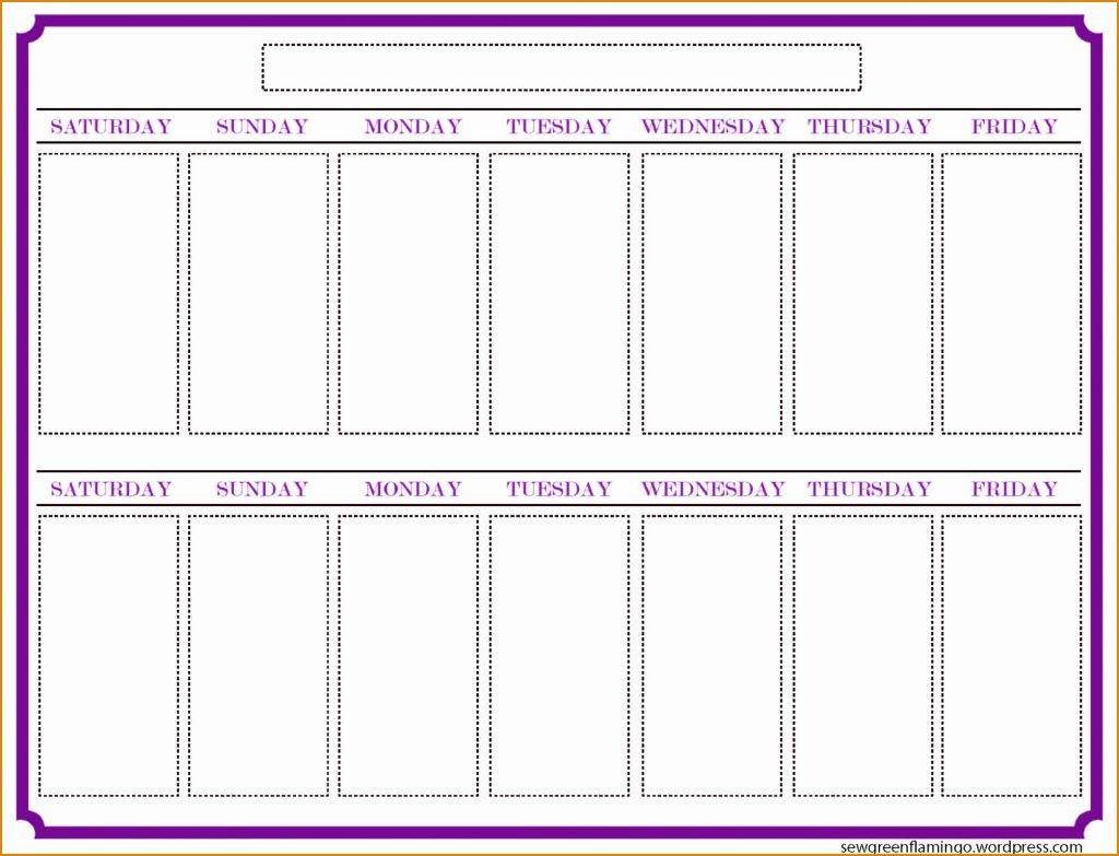 Printable Calendar Two Weeks | Printable Calendar 2019 for 2 Week Blank Calendar Template