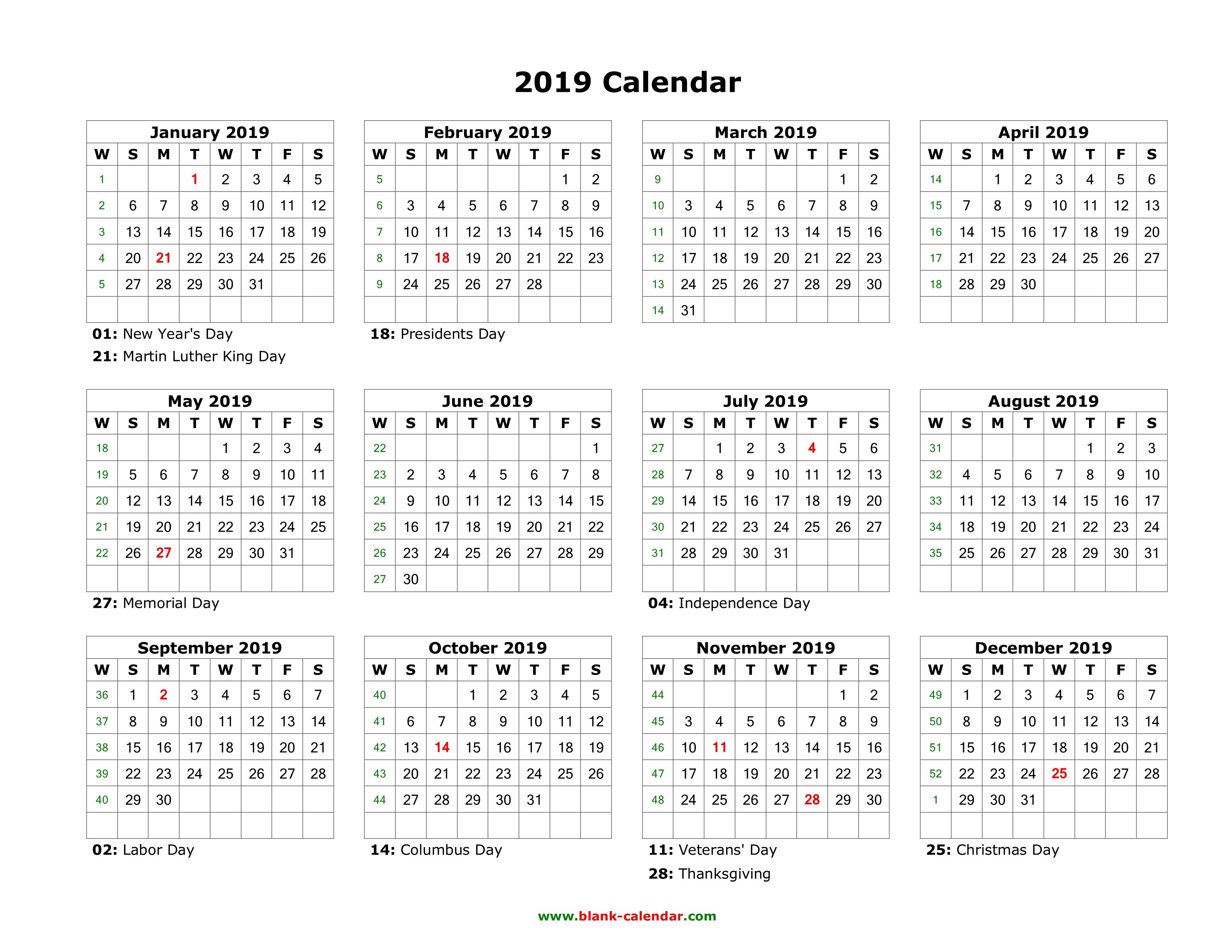 Printable Calendar Year 2019 | Printable Calendar 2019 intended for Blank Calender Academic Year 2019 -2020