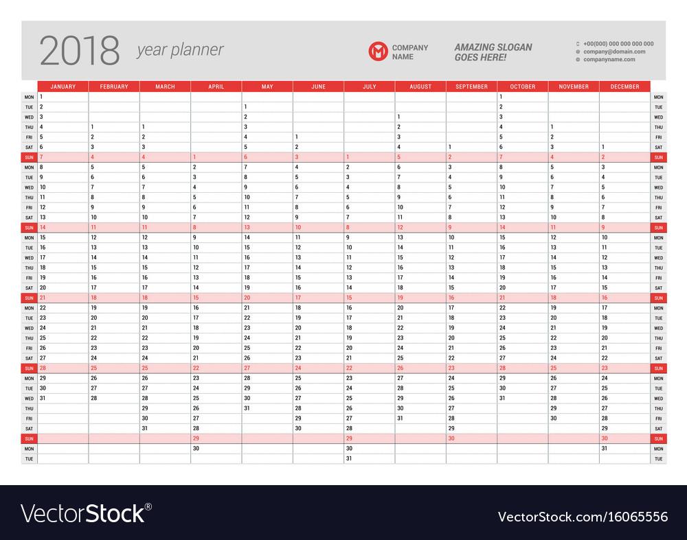 Printable Calendar Year Planner 2018 | Printable Calendar 2019 with regard to Year Printable Planner Template