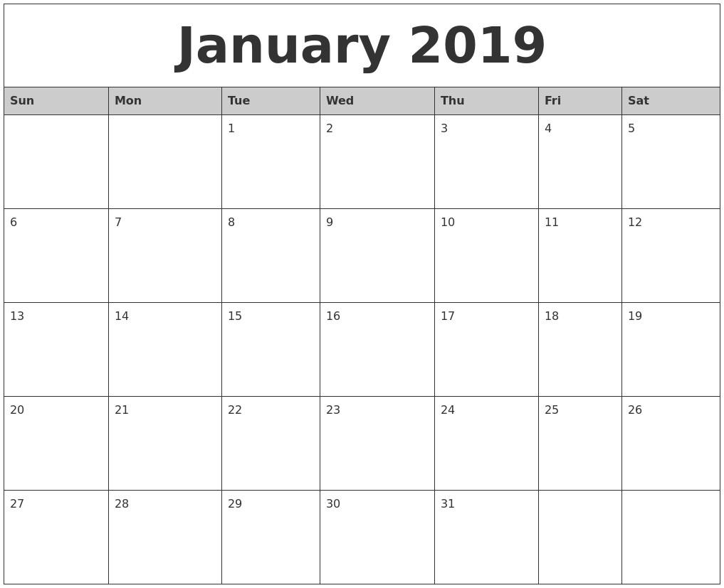 Printable Calendarmonth 2019 January 2019 Printable Calendar within Month By Month Blank Calendar