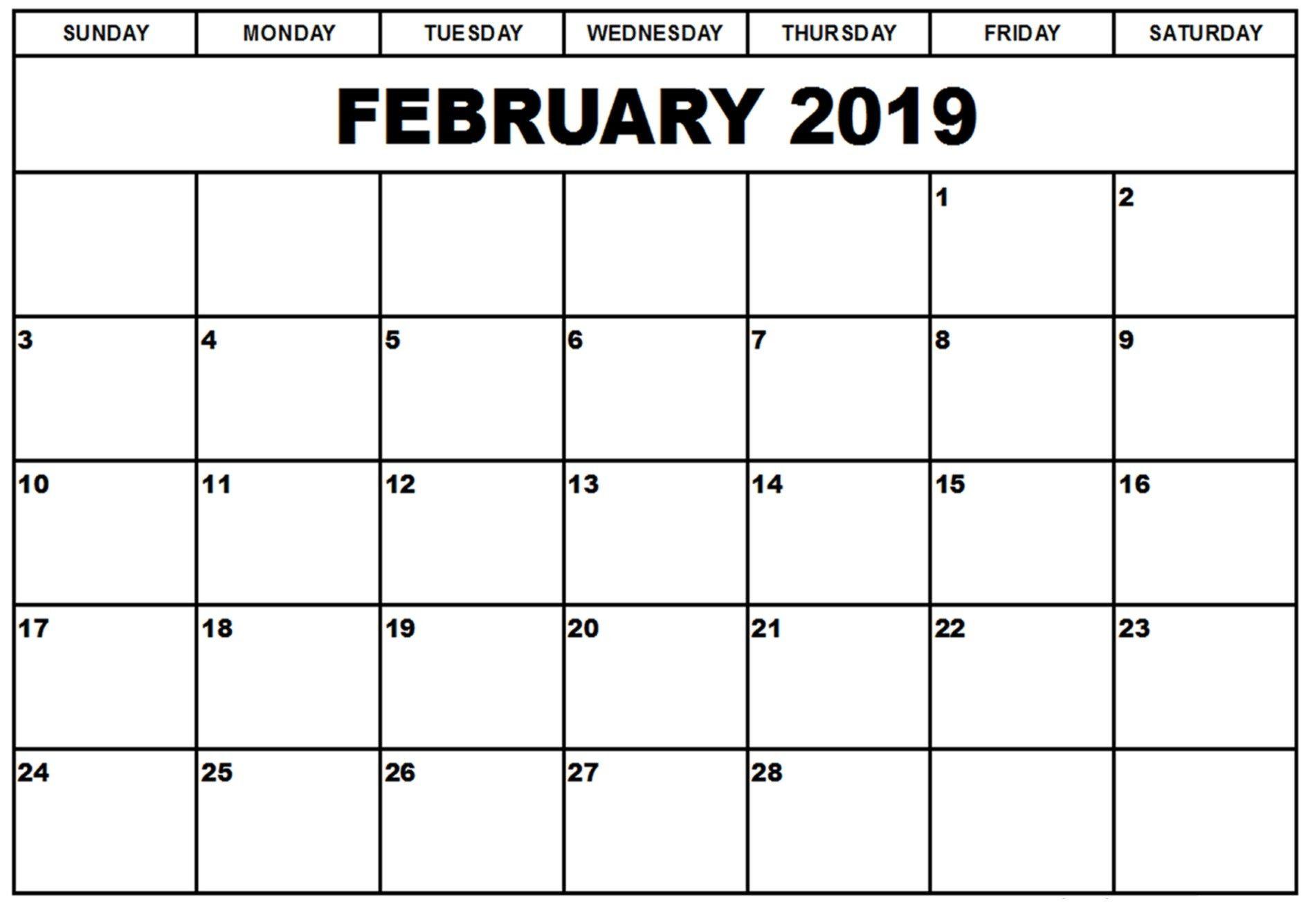 Printable Calendars Save February 2019 Calendar Printable Templates inside Free Fillable Blank Calendar Templates