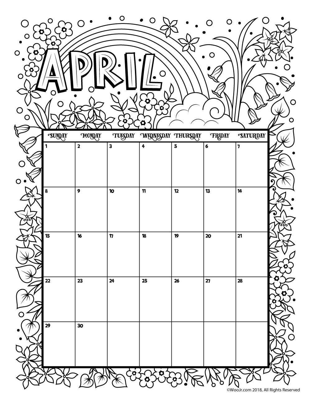 Printable Coloring Calendar For 2019 (And 2018!) | Holiday Happiness regarding Coloring Pages October Calendar 2019 Adults