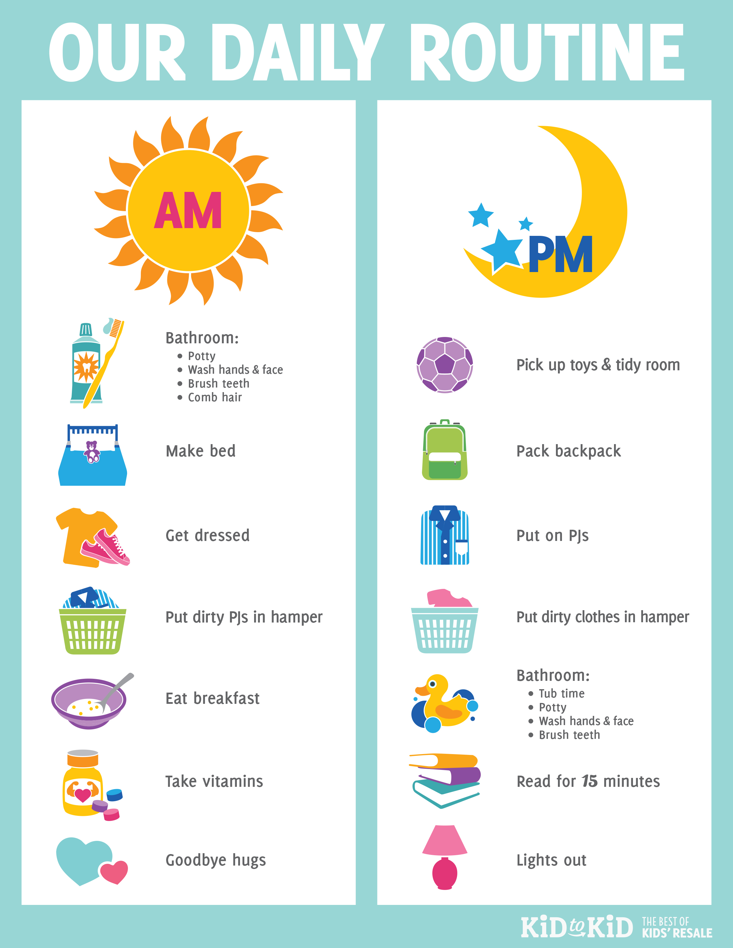 Printable Daily Routine Chart - Kid To Kid with Printable Schedule For Kids Template