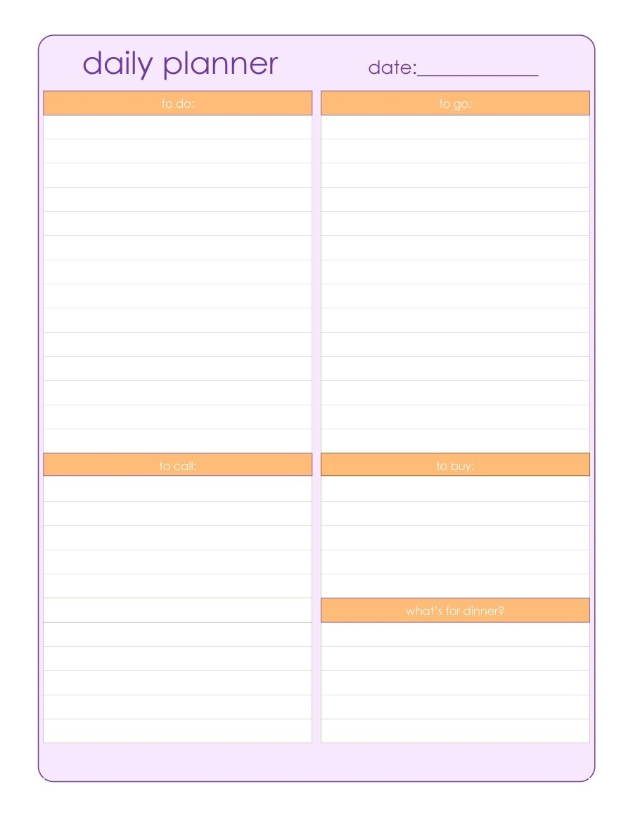 Printable Daily Schedule With Notes - Calendar Inspiration Design in Catholic Daily Planner Template Printable Free