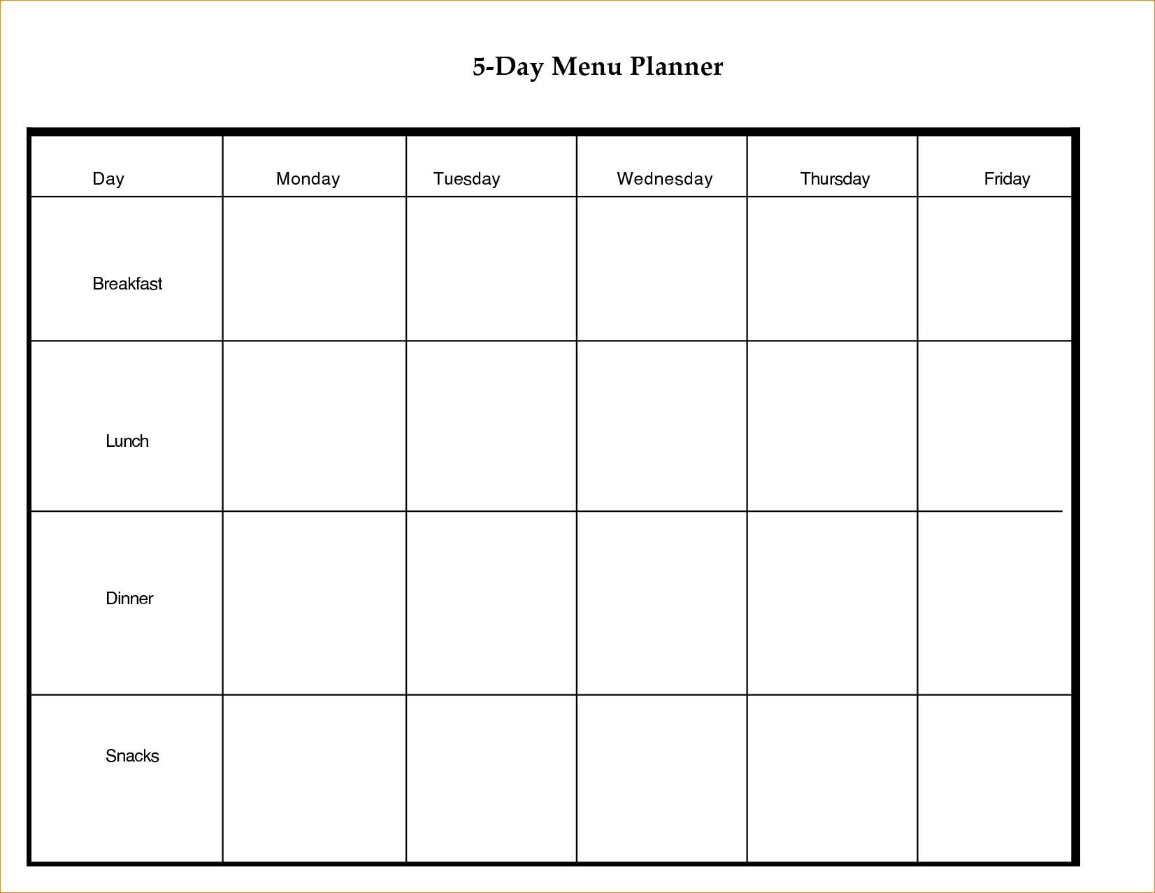 Printable Day Calendar Blank Template Week With Weekly Excel Word within 5 Day Calendar Template