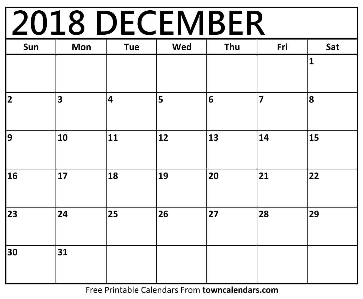 Printable December 2018 Calendar - Towncalendars intended for Christmas Themed Calendar Templates