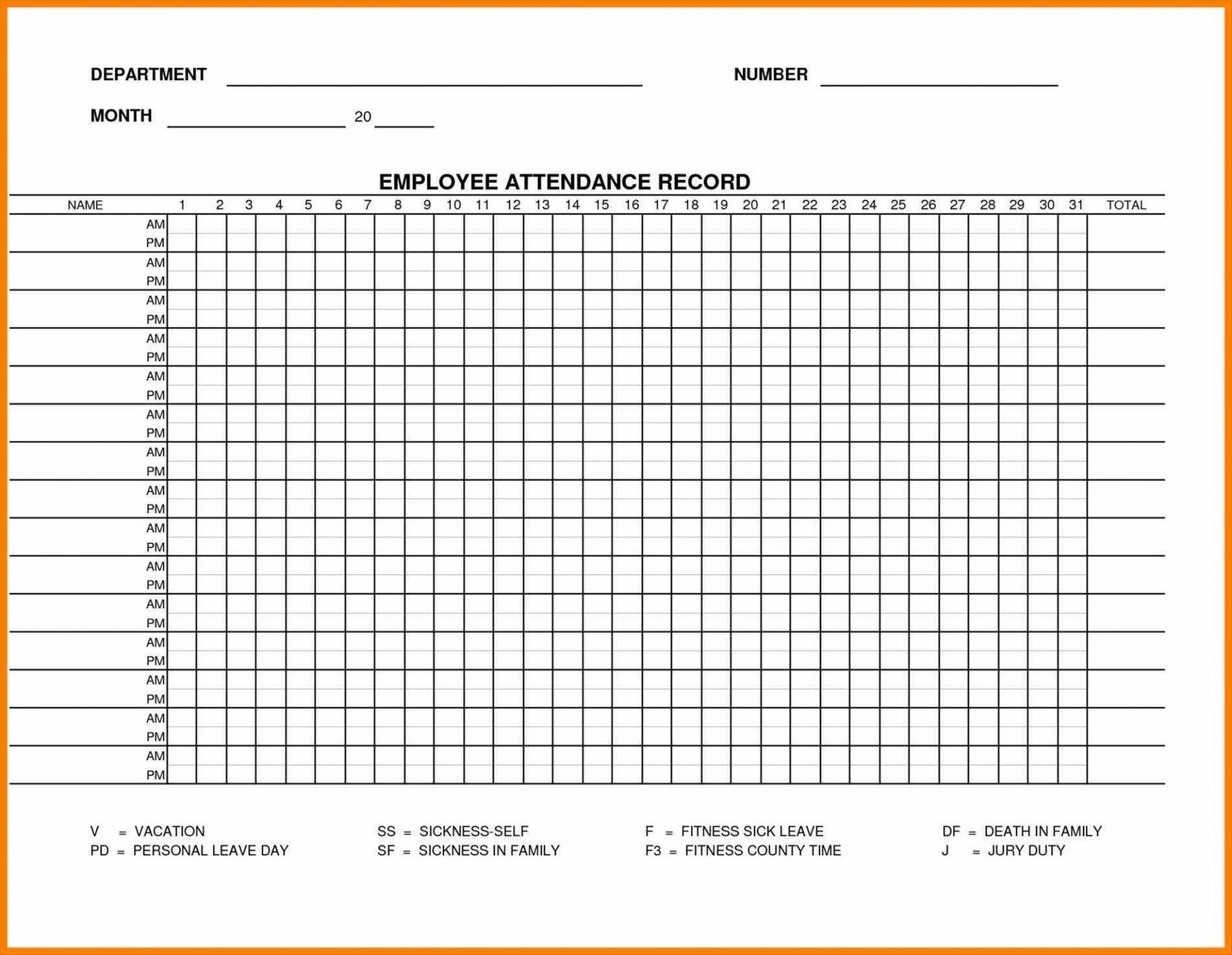 Printable Employee Attendance Sheet Excel 2018 Within Employee for Free Printable Employee Attendance Calendar Template