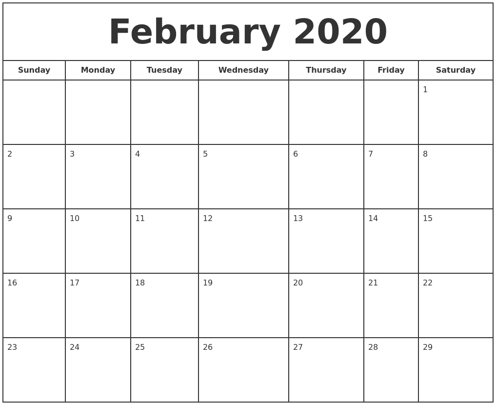 Printable February 2020 Calendar - Free Blank Templates - Calendar within February Calendar Printable Template Blank