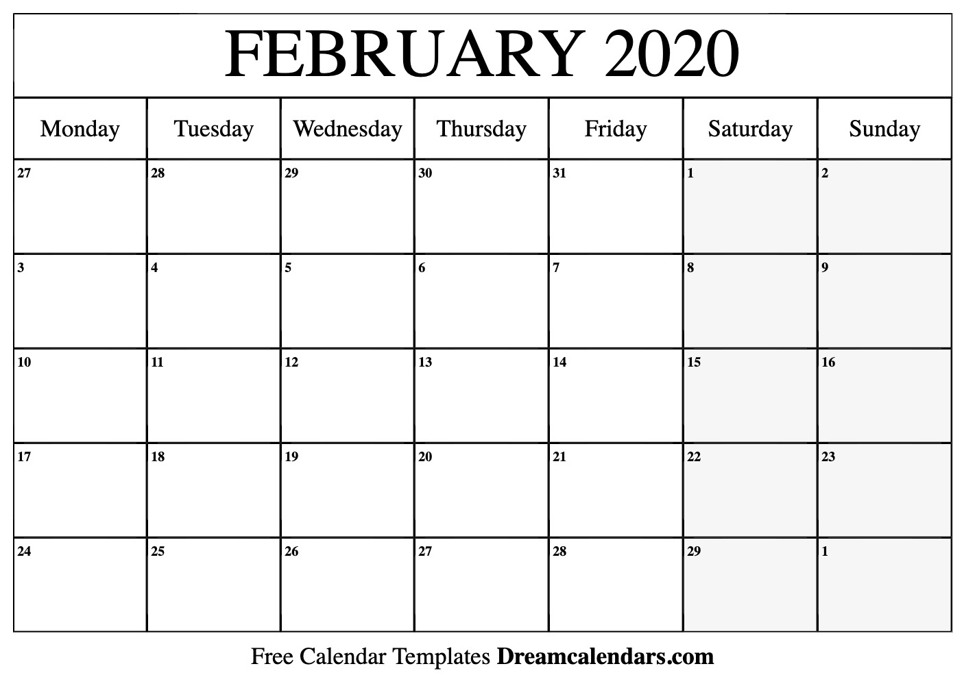 Printable February 2020 Calendar with February Calendar Printable Template Blank