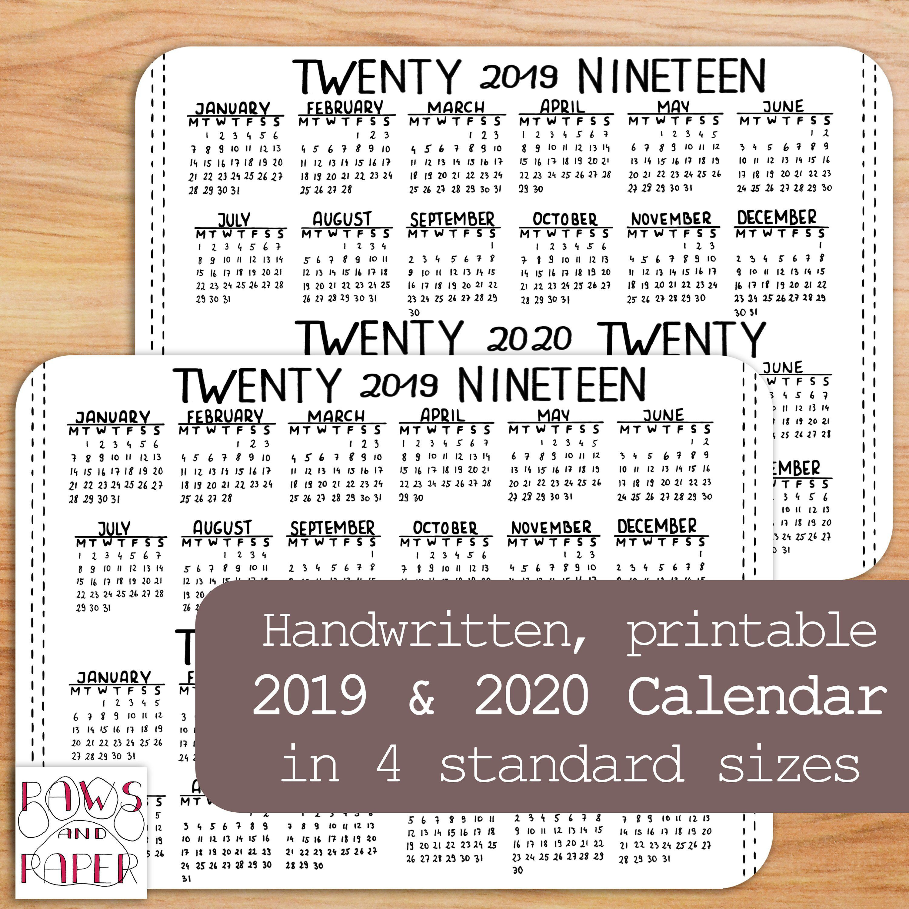 Printable Horizontal Calendar For 2019 And 2020. Insert For Your in Year At A Glance 2019/2020 Free Printable