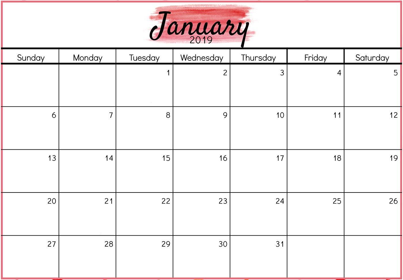 Printable January 2019 Calendar Design   Free Printable February in Decorative Printable Calendar Templates