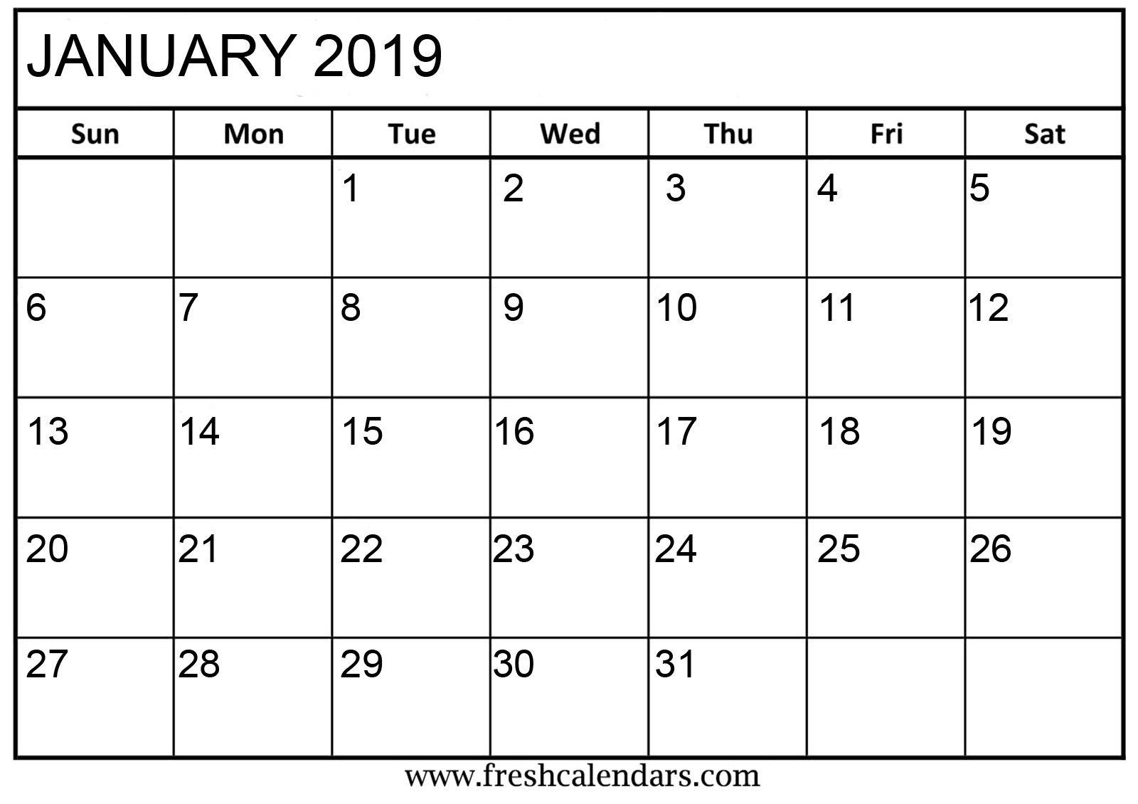 Printable January 2019 Calendar #january2019 #january2019Calendar with January Calendar Printable Template With Holidays