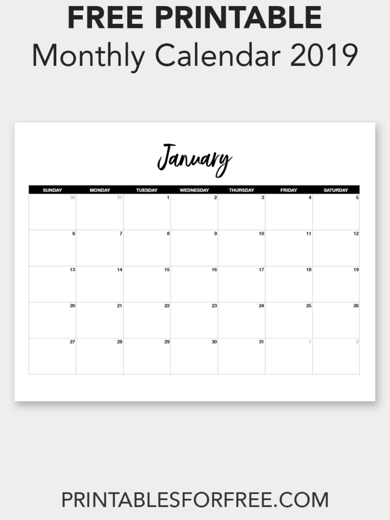 Printable January 2019 Calendar (Minimal | Printable Calendar in Free Printable Blank Advent Activities List Minimal