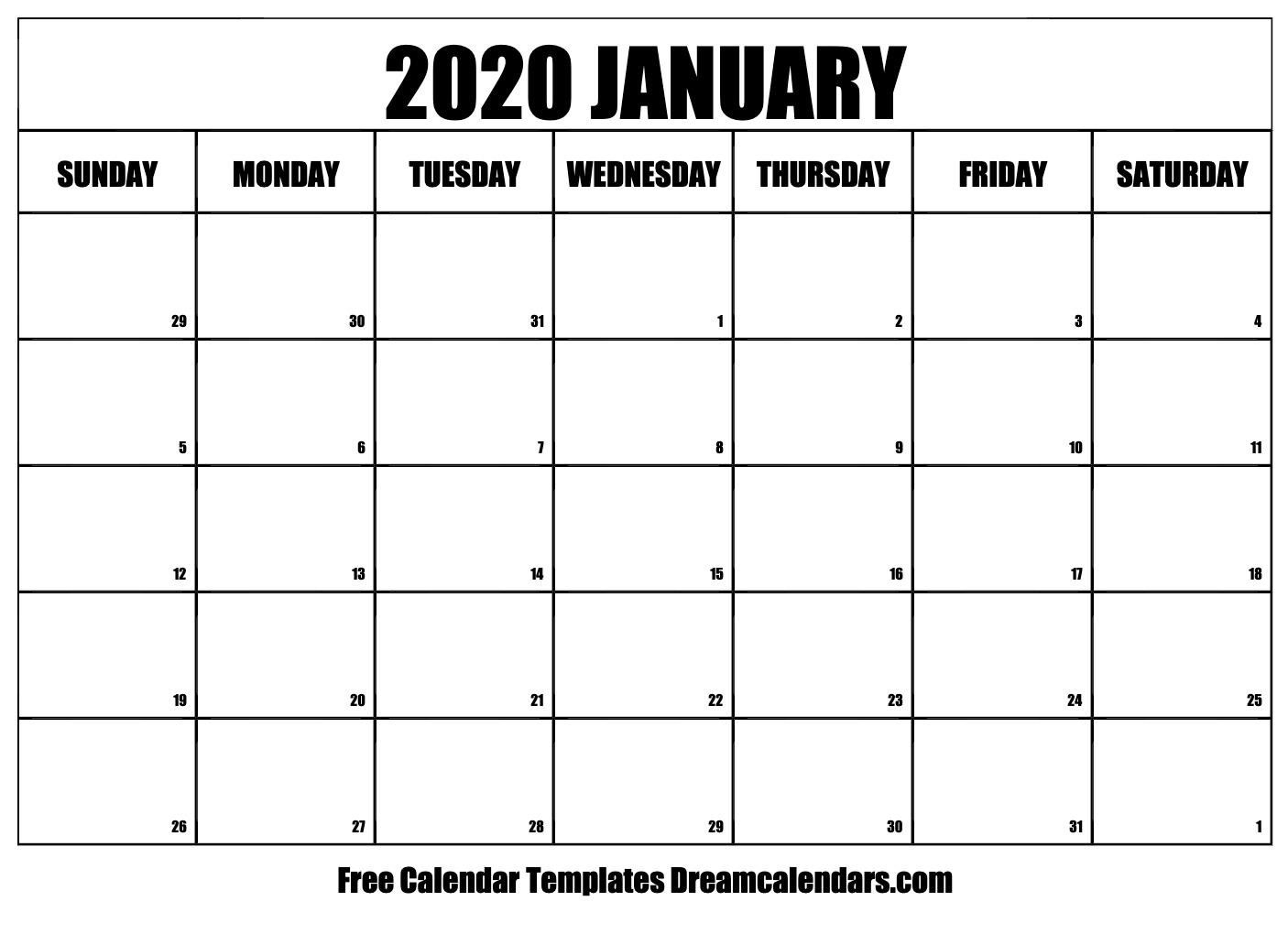 Printable January 2020 Calendar pertaining to 2020 Monday - Friday Calendar Printable