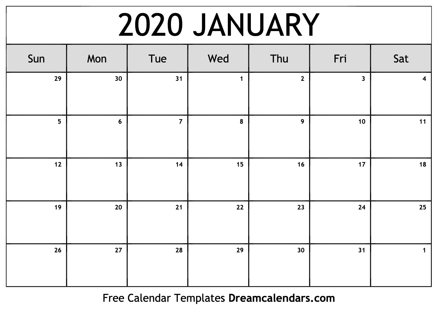 Printable January 2020 Calendar throughout Printable 2020 Calendar I Can Edit