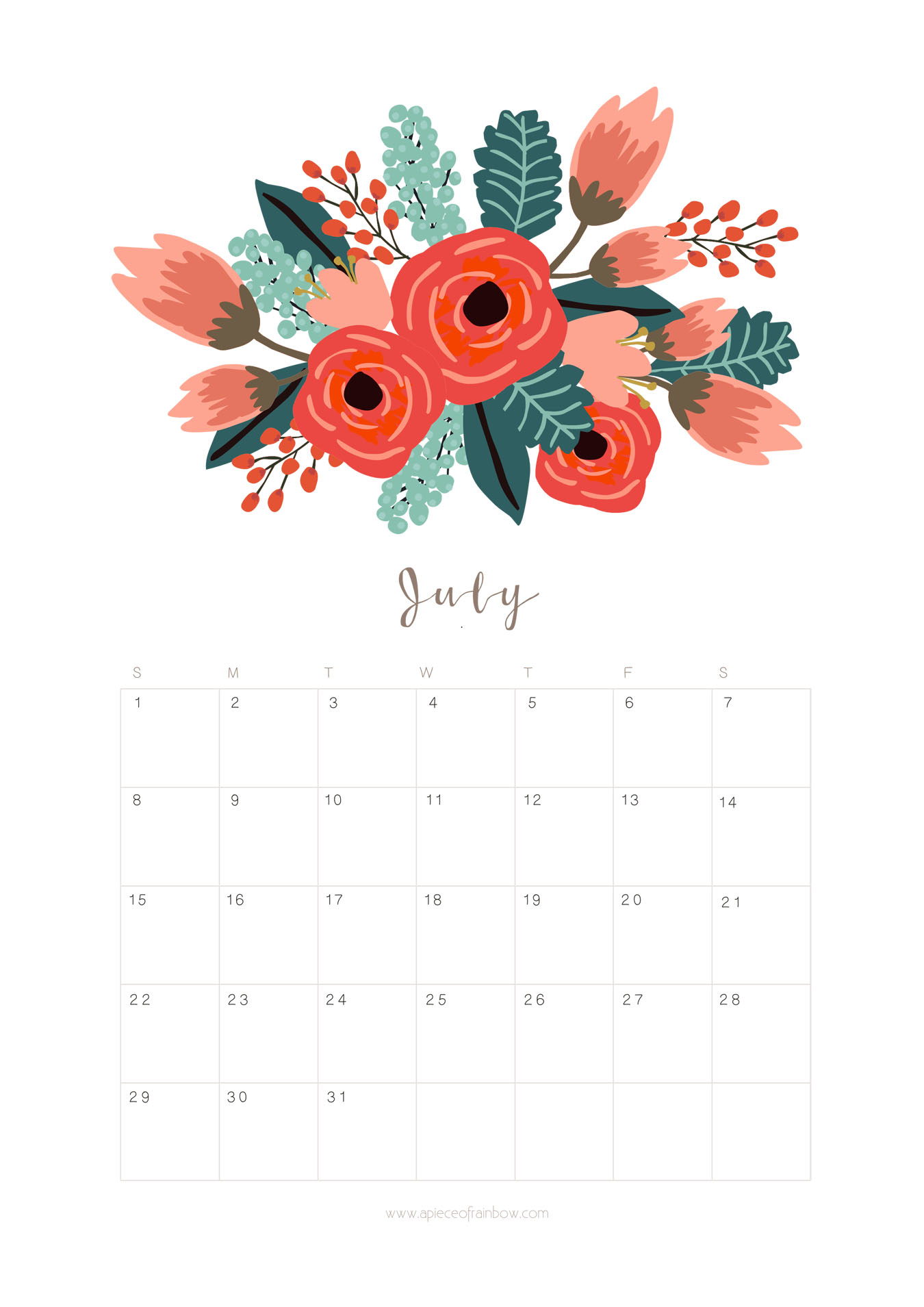Printable July 2018 Calendar Monthly Planner - Flower Design - A for Pretty Monthly Calendar Template July