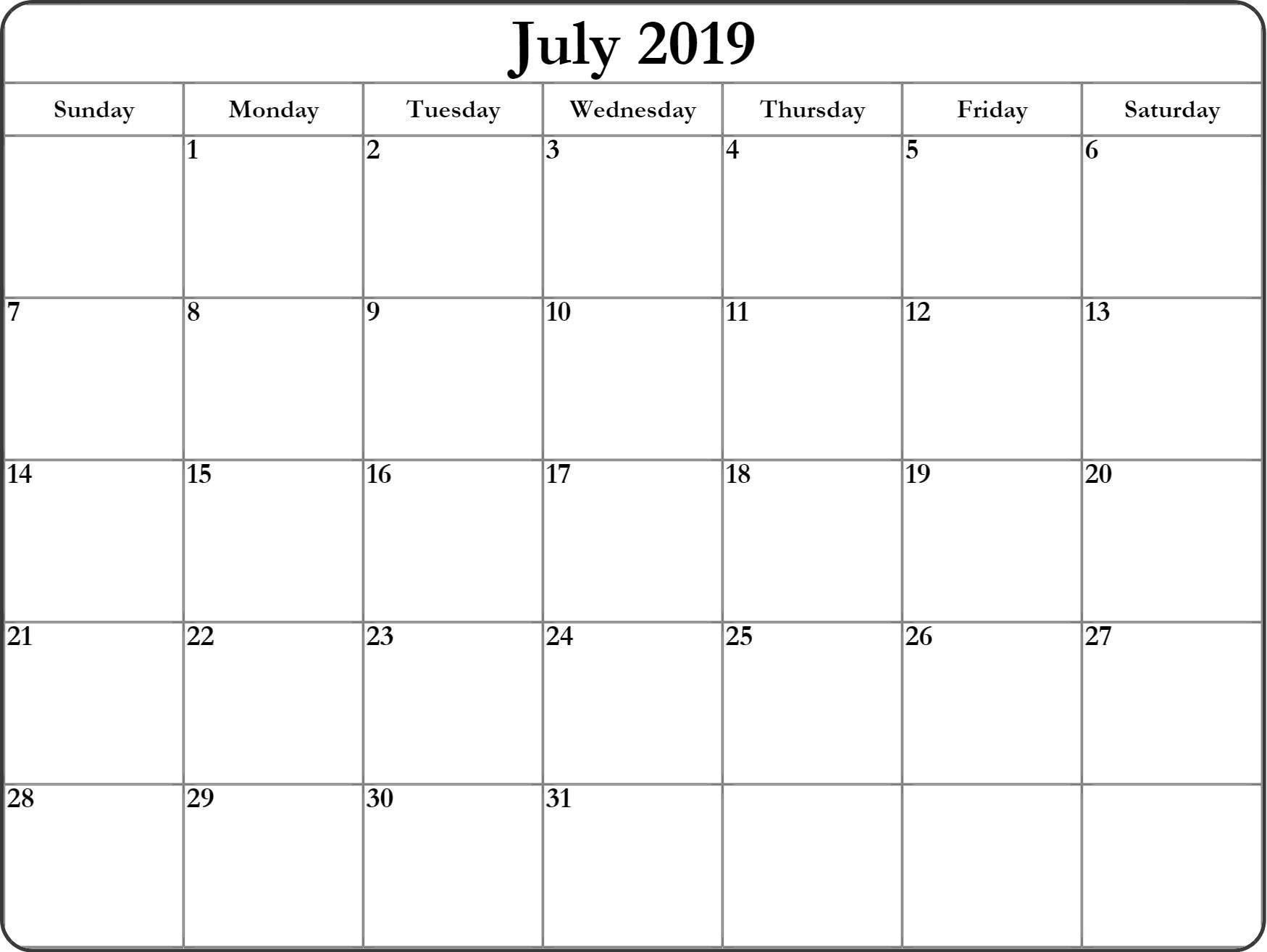 Printable July 2019 Calendar Free Template - Free Printable Calendar pertaining to Calendar Printable Free Template